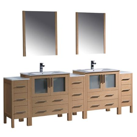 Fresca torino 96 inch light oak modern double sink for Bathroom cabinet 8 inches wide