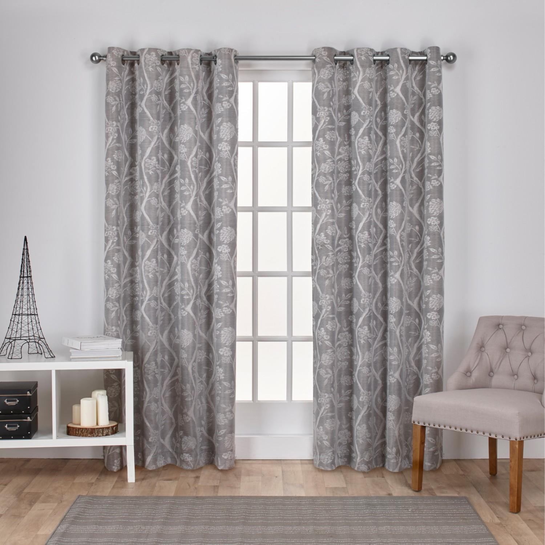 Exclusive Home Lamont Branch and Vine Textured Linen Jacquard Grommet Top Window