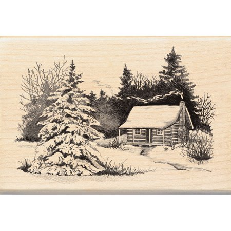 Inkadinkado Christmas Mounted Rubber Stamp, Snowy Cabin 2.75