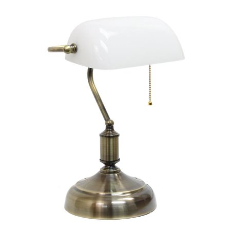 Simple Designs Executive Bankers Desk Lamp With Antique Nickel Finish and White Glass Shade