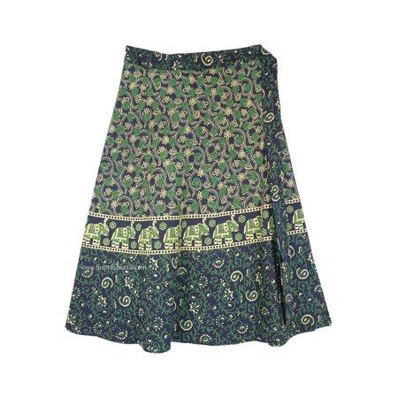 Cotton Wrap Around Skirts - Plus Size Elephant Indian Cotton Summer Mid Length Wrap Around Skirt
