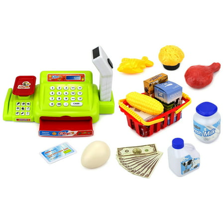 Velocity Toys Happy Little Shopper Pretend Play Battery Operated Toy Cash Register W  Working Scanner  Mock Scale  Money  Credit Card  Groceries