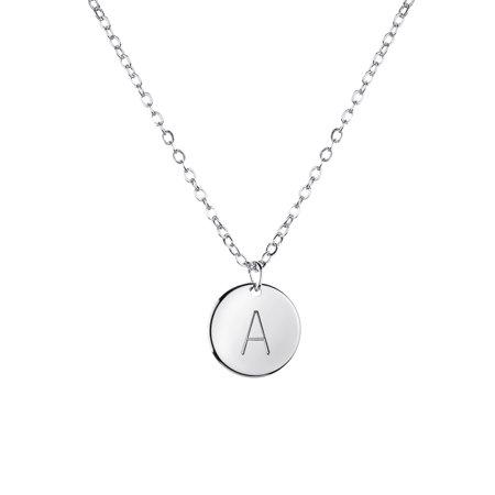 MignonandMignon - Silver Initial Necklace Initial Disc ...