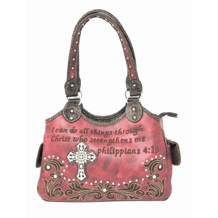 Texas West Concealed Carry Bible Verse Rhinestone Cross Flora Cowgirl Women Handbag In Multi