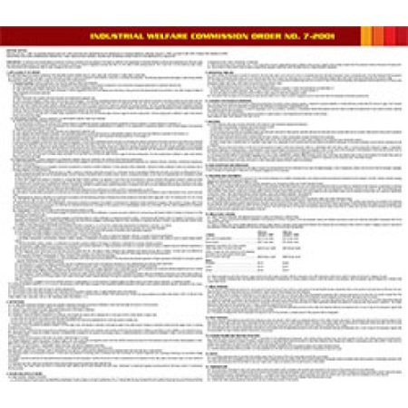 Compliance Assistance: California Industry Welfare Commission (IWC) #7 Mercantile Industry Poster- Up to Date, Thick Lamination, Compact, OSHA Compliant (Osha Compliance Posters)