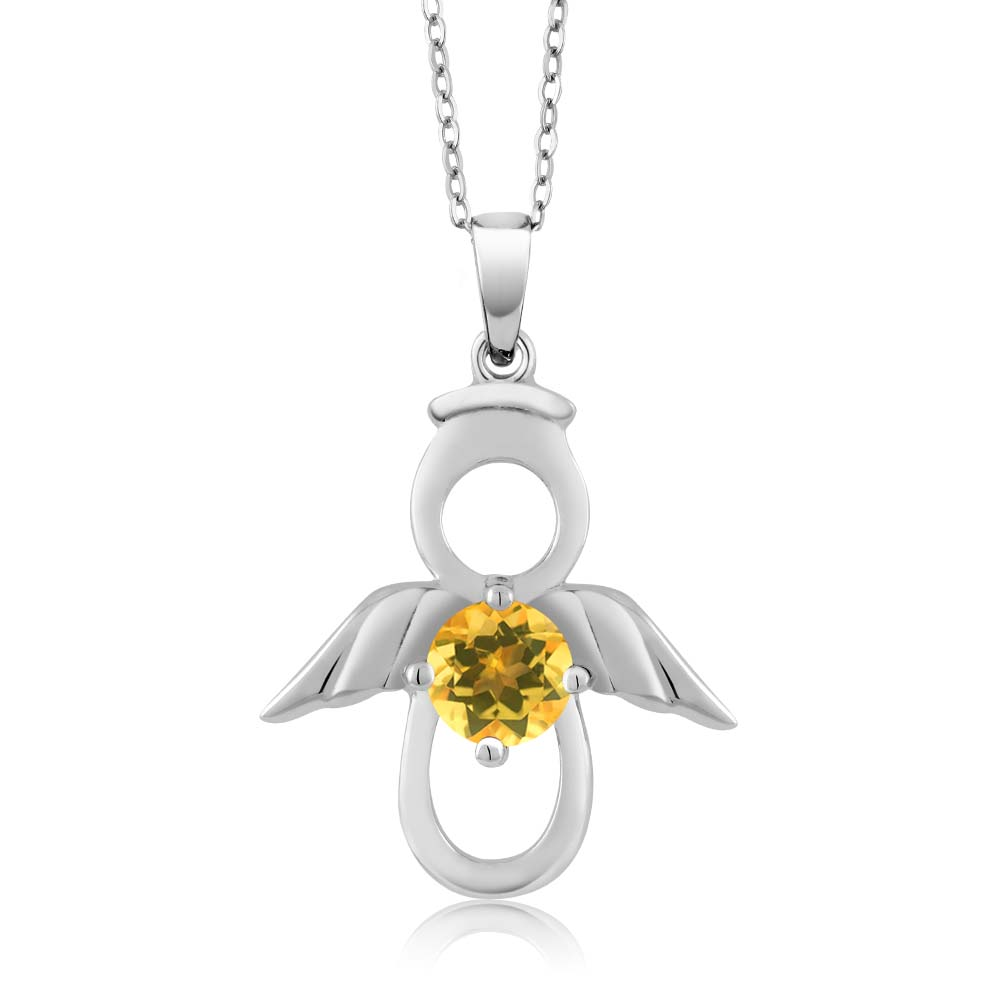 925 Sterling Silver Angel Pendant Necklace For Women 0.45 Ct Round Yellow Natural Citrine Necklace� by