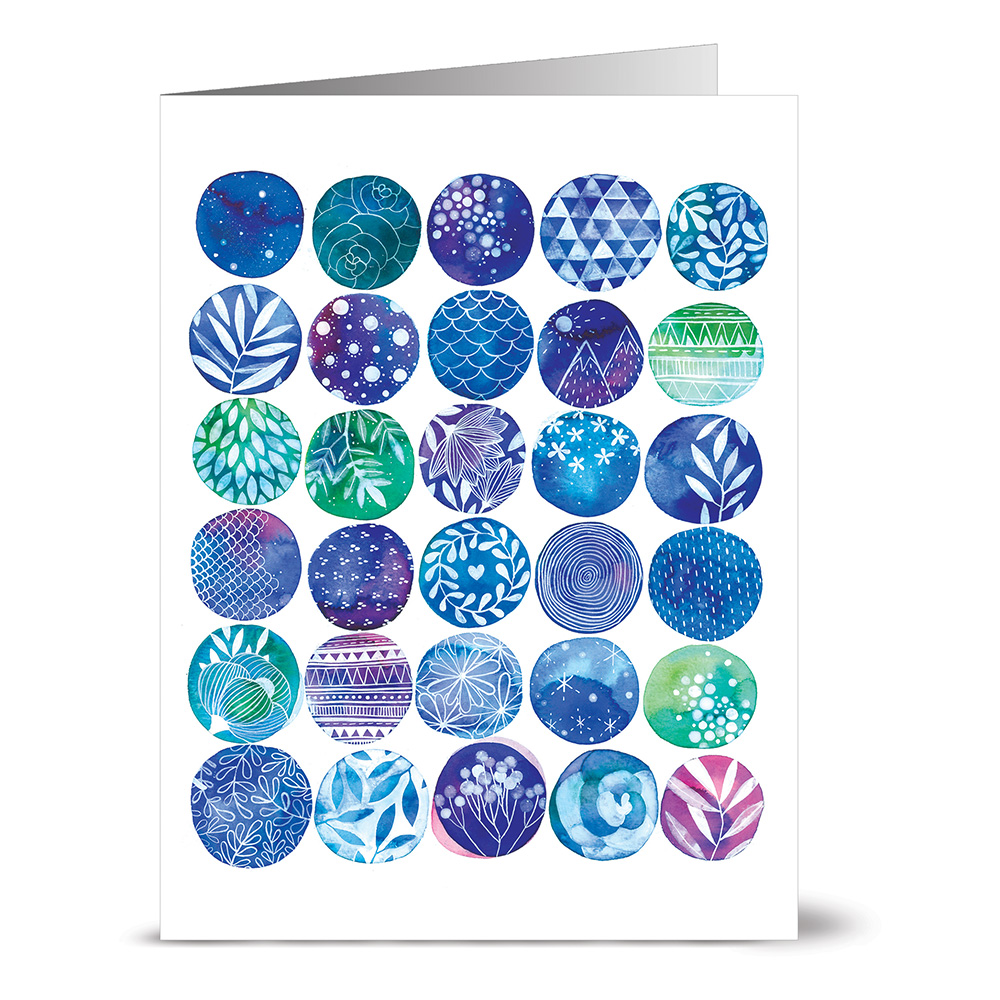 24 Note Cards - Good Vibes Spheres - Blank Cards - Lilac Purple Envelopes Included