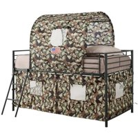 Rosebery Kids Camouflage Loft Bed with Tent Cover in Army Green
