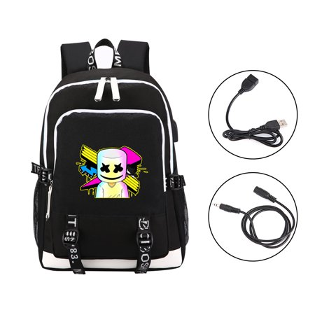 Anti Theft Luminous Travel Backpack with USB Charging Port, Unisex College Bookbag Laptop Daypack Marshmallow Backpack for Boys