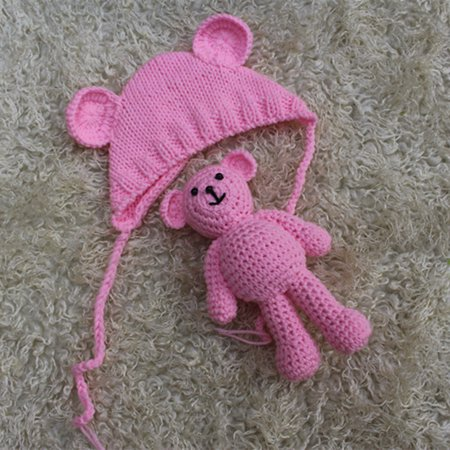 iLH Mallroom Newborn Infant Baby Photography Props Stretchy Knitted Baby Hat + Bear Doll Toy Two-piece