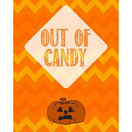 Out Of Candy Print Pumpkin Picture Halloween Decoration Orange Yellow Chevron Design Background Pattern Wall Hanging Seasonal Poster - Patterns Pumpkin Halloween