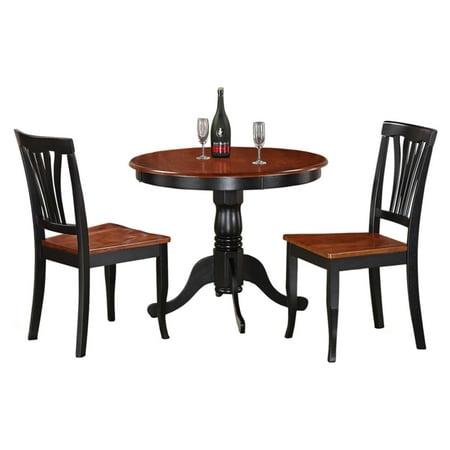 East West Furniture Antique 3 Piece Pedestal Round Dining Table Set with Avon Wooden Seat (3 Round Pedestals)