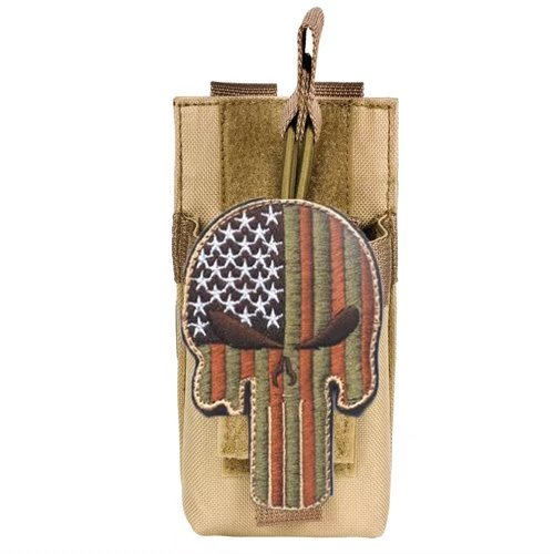 TACBRO TAN Tactical MOLLE Radio Pouch + PATRIOT SKULL Morale Patch Fits Icom IC-V8 IC-T7H IC-V80 IC-80AD IC-91A Yaesu... by