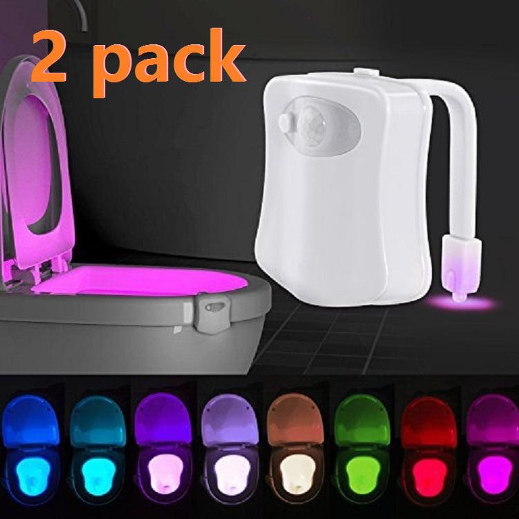 Led Toilet Light, 2PACK Toilet Night Light Motion Activated 8 Color Changing Led Toilet Seat Light Motion Sensor Toilet Bowl Light, I2420