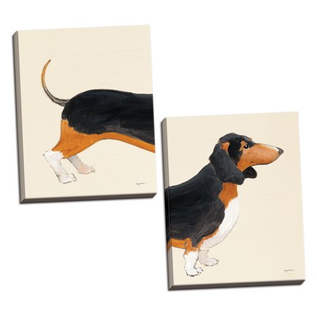 Gango Home Decor Contemporary My Best Friend Dachshund II & III by Avery Tillmon (Ready to Hang); Two 16x20in Hand-Stretched