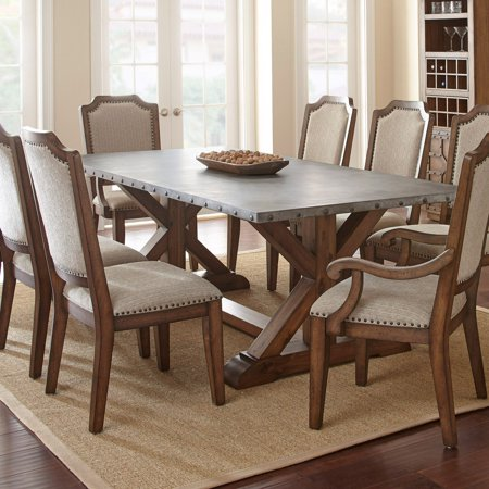Steve Silver Wayland Zinc Top Dining Table In Driftwood