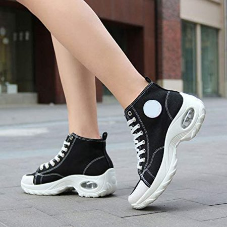 2021 New Women's Shoes Air Cushion Sneakers, Canvas Shoes Fashion Casual High Socks Shoes, Platform Loafers Walking Shoes for Women Girls - image 3 of 4