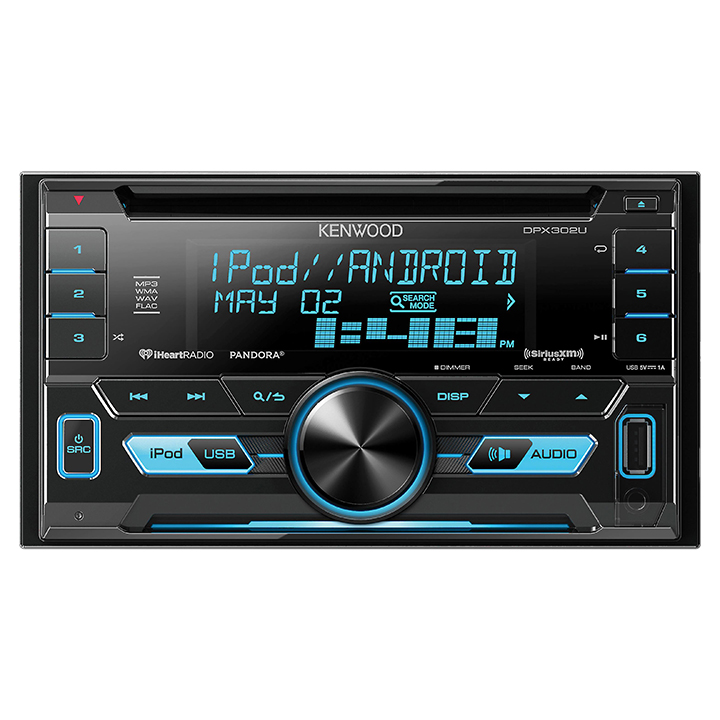 Kenwood DPX302U Ddin Cd Player W/usbsatrdyswivar.clr