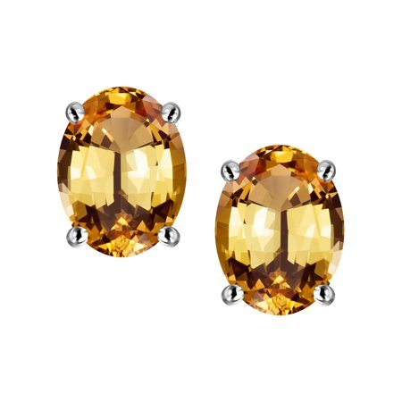 Star K Oval 8x6mm Simulated Imperial Yellow Topaz Earrings Studs In Sterling Silver