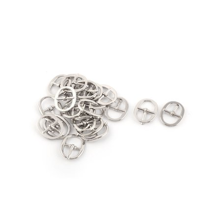 Unique Bargains Unisex Single Prong Pin Metal Oval Shape Needle Shoes Clips Buckles Silver Tone