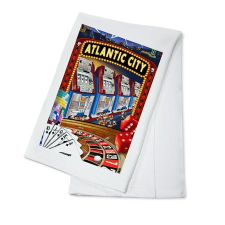 Atlantic City - Casino Scene - Lantern Press Poster (100% Cotton Kitchen Towel) (Casino Cowboy Scene)
