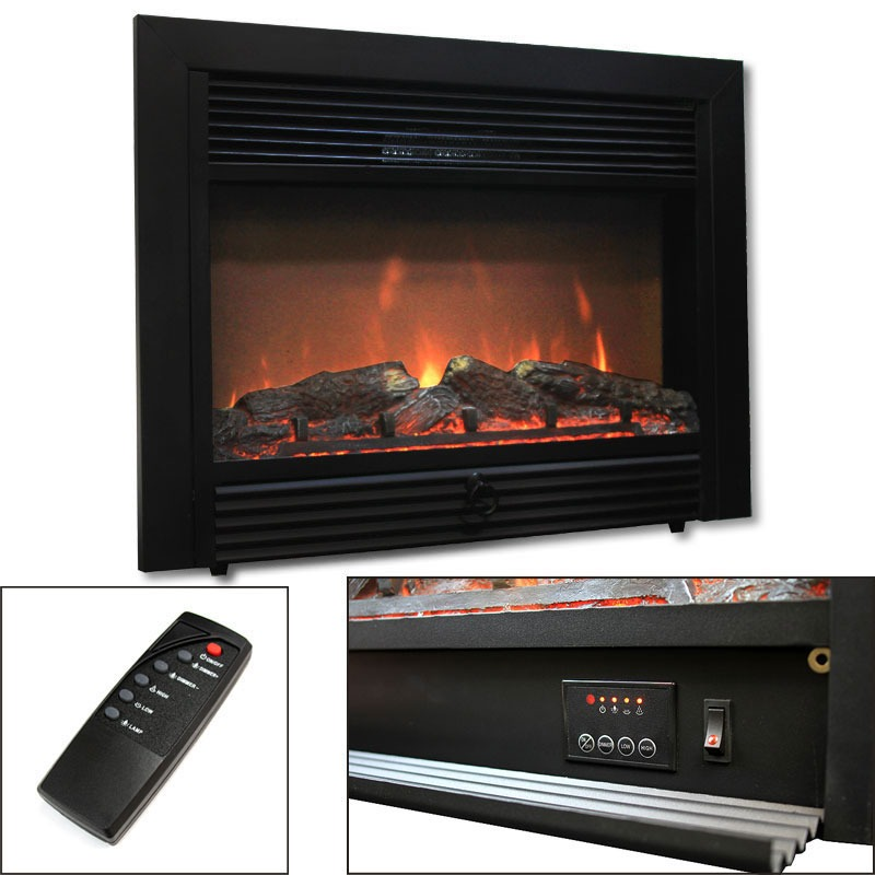 "28.5"" Electric Fireplace 1500W Embedded Insert Heater with Remote, Realistic Wood"