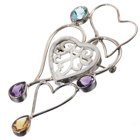Citrine Amethyst Diamond Heart - Heart Blue Topaz Amethyst Carved Mother Of Pearl Shell Filigree 925 Silver Pendant, 3 1/8