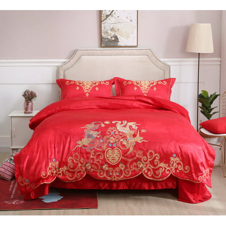 Queen Size Chinese Traditional Red Sheet Asian Bedding with Dragon and Phoenix Bird Embroidery Duvet Cover Set 4 Pcs
