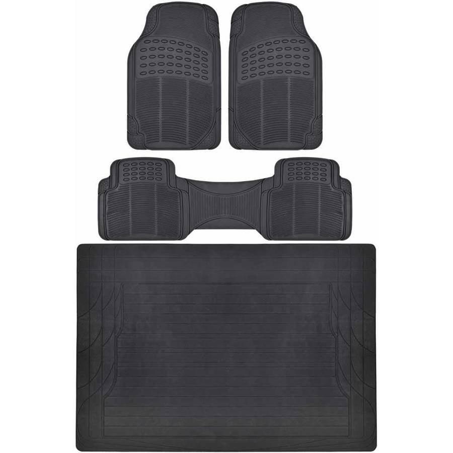 BDK Car Floor Mats with Cargo Mat, All Around Utility Trunk Mat, 3 Colors