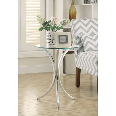 Coaster Furniture Contemporary Table (Coaster Furniture Chrome Glass Top Snack Table)