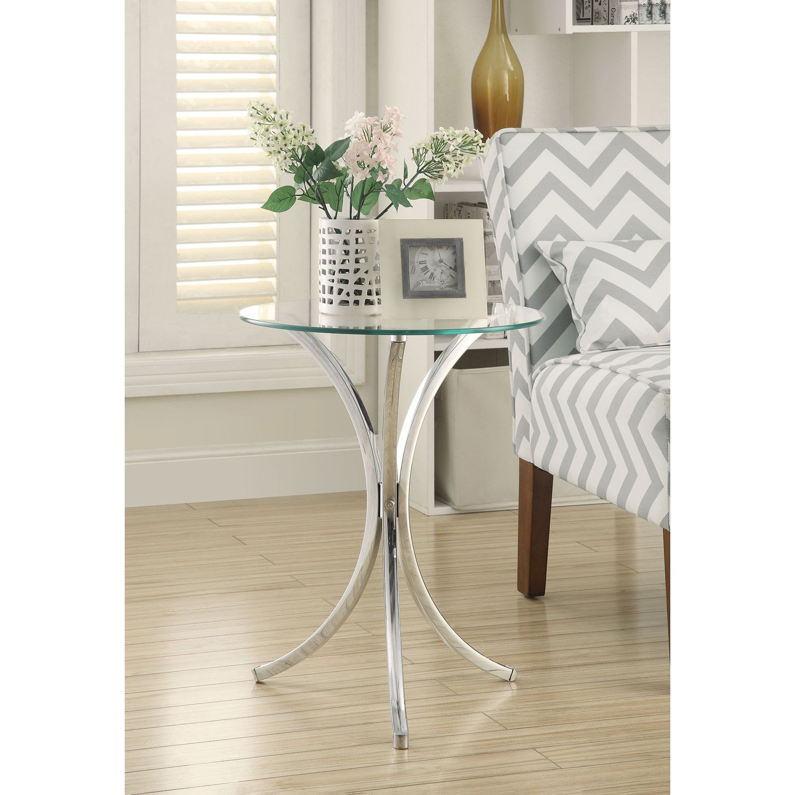 Coaster Furniture Chrome Glass Top Snack Table