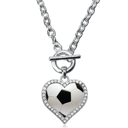 Soccer Ball Open Heart Toggle Necklace - Soccer Necklaces