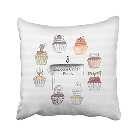 WinHome Halloween Cute Cupcakes Clipart Pieces Pumpkin Ghost Spider Bat Decorative Pillow Cover With Hidden Zipper Decor Cushion Two Sides 18x18 inches