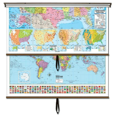 Universal Map 28076 US-World Advanced Political Wall Map Combo - Backboard