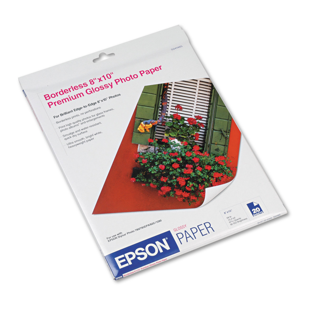 Epson Premium Photo Paper, 68 lbs., High-Gloss, 8 x 10, 20 Sheets/Pack -EPSS041465