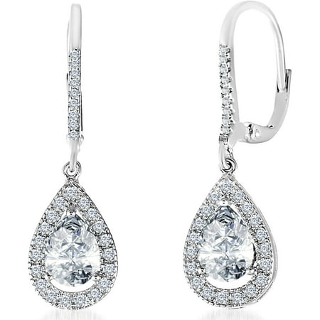 Cubic Zirconia Teardrop Dangle Earrings in Sterling Silver ()