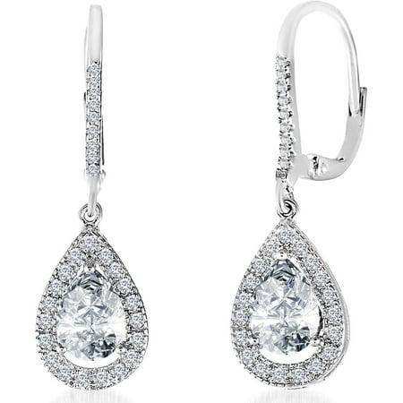 Cubic Zirconia Teardrop Dangle Earrings in Sterling (Sterling Silver Drop Style Earrings)