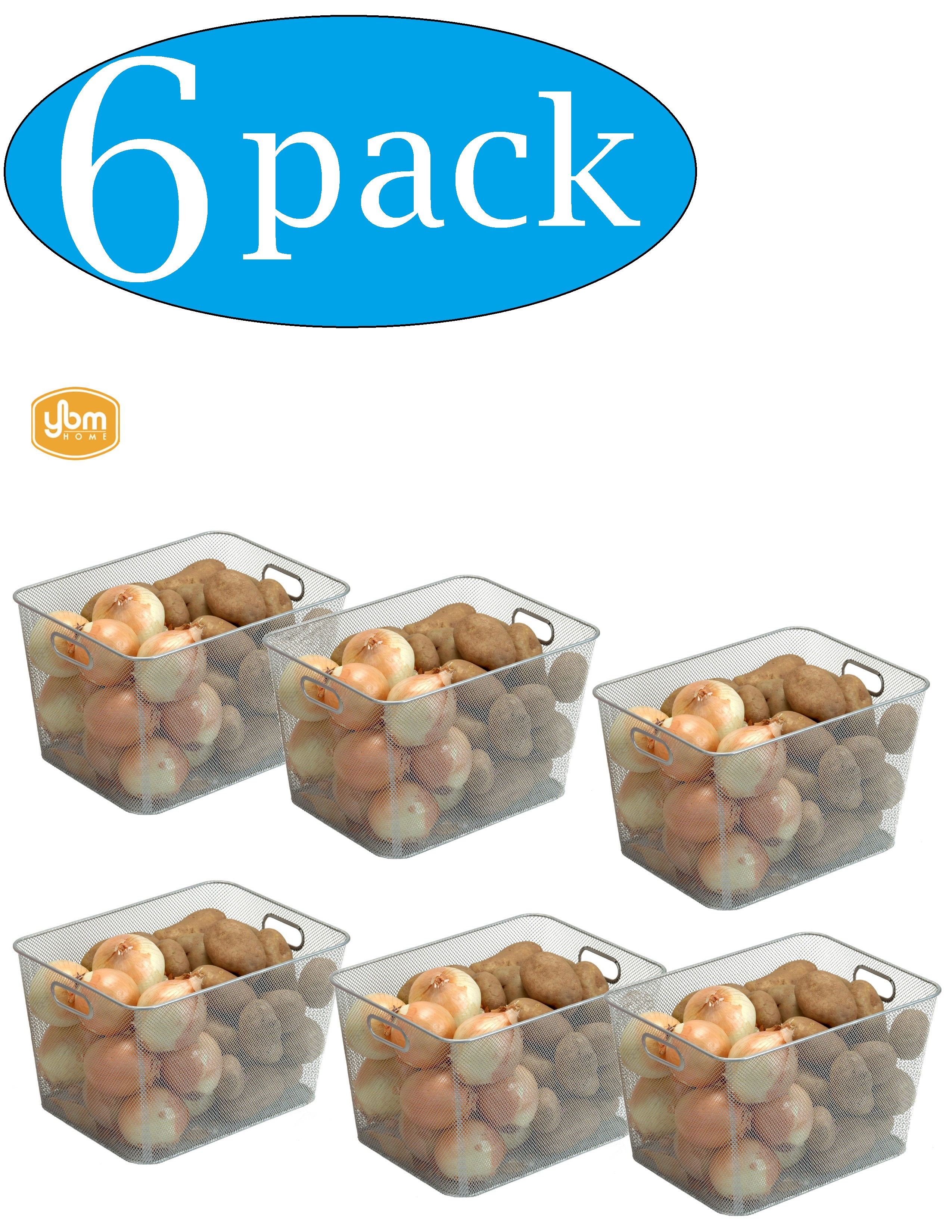 W x 8.8 in H 6 Pack L x 10 in Ybm Home Wire Mesh Open Bin Basket Black 14 in