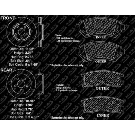 Max Brakes Front & Rear Premium Brake Kit [ OE Series Rotors + Ceramic Pads ] KT012143 | Fits: 1998 98 Oldsmobile Intrigue w/ Heavy Duty Brakes (GM Brake Code JA9) - image 7 de 8