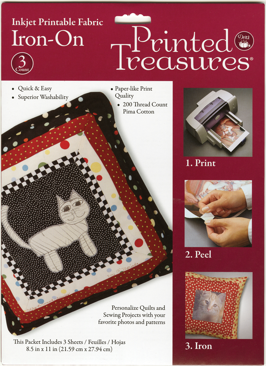 picture about Ink Jet Printable Fabric named Released Treasures Iron-Upon Ink Jet Printable Material Sheets-White 3/Pkg-IT-100