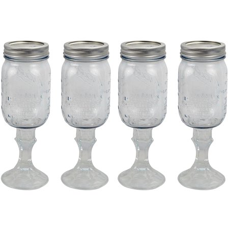 Wine Glass Stemware, Set of 4, Features an authentic made in the USA Ball Mason Jar By Ball](Mason Jar Wine Glasses Bulk)