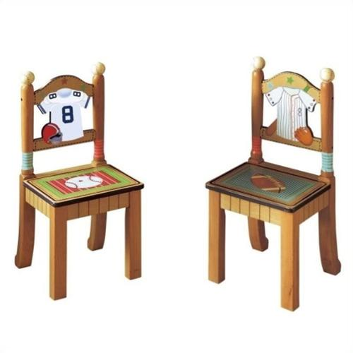 Fantasy Fields Hand Carved Little Sports Fan Set of 2 Chairs