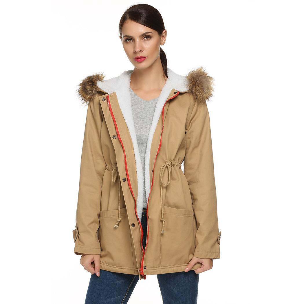 Womens Parka Jacket Hooded Winter Coats Faux Fur Coat Outdoor by