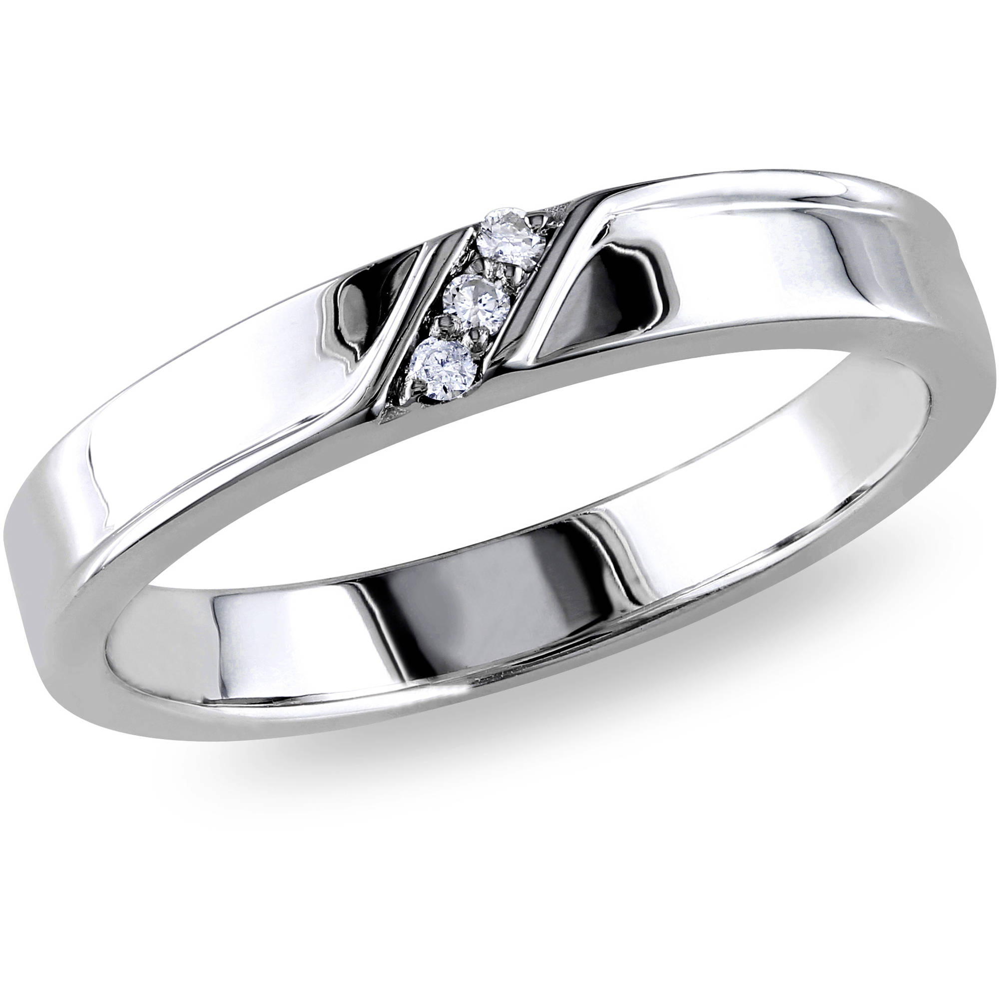 Miabella Men's Diamond-Accent Sterling Silver Wedding Band