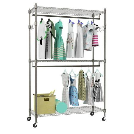 Portable Rolling 3-Tier Wire Shelving Clothes Shelf Garment Rack + Side Hooks + Wheels Type 4(US Stock) ()