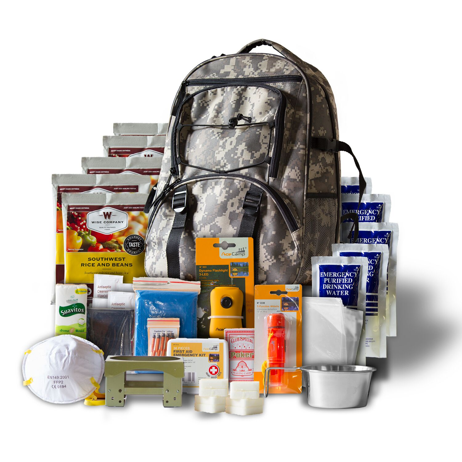 Wise Five Day Emergency Back;ack with Food & Water & First Aid for One Person (CAMO)