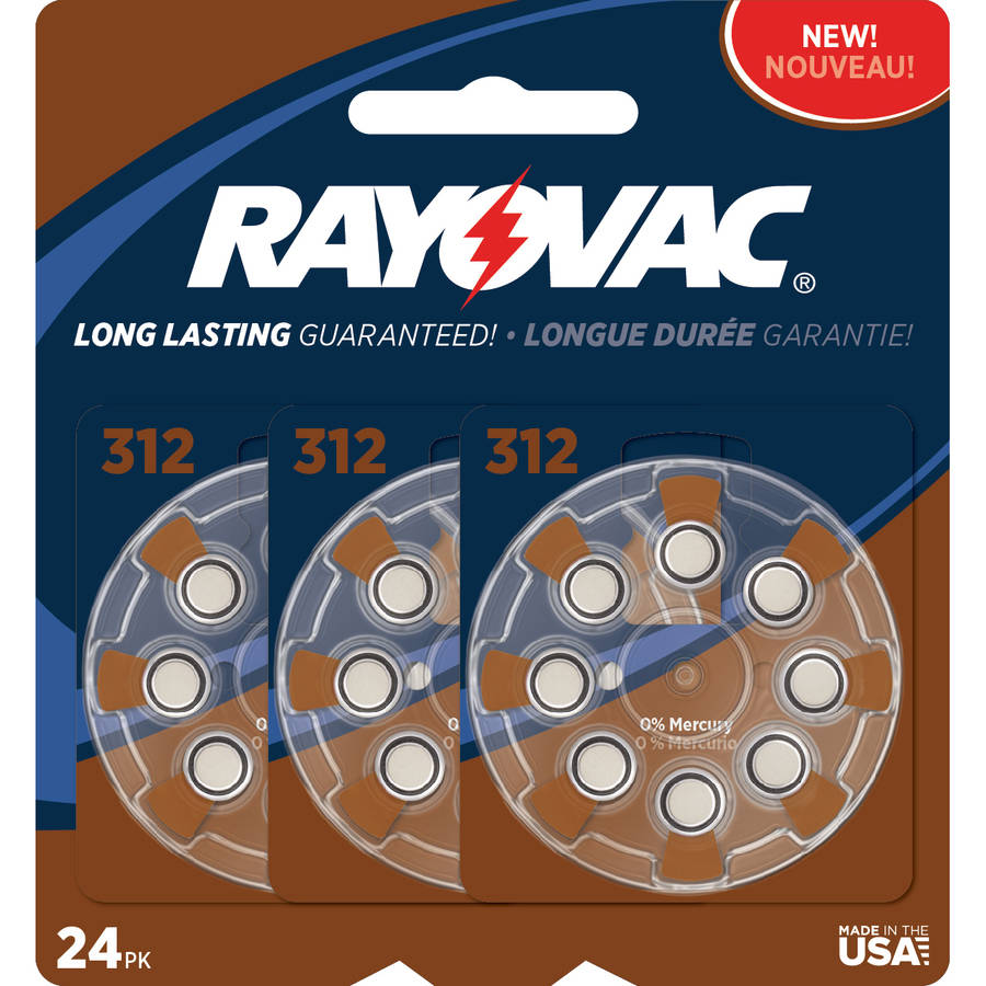 Rayovac Type 312 Hearing Aid Batteries, 24-Pack
