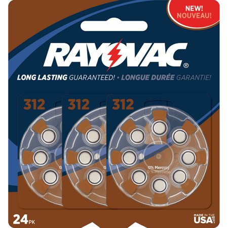 Rayovac Type 312 Hearing Aid Batteries  24 Pack
