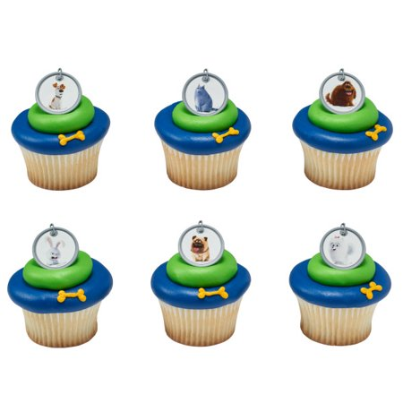 24 The Secret Life of Pets Dog Tags Count Cupcake Cake Rings Birthday Party Favors