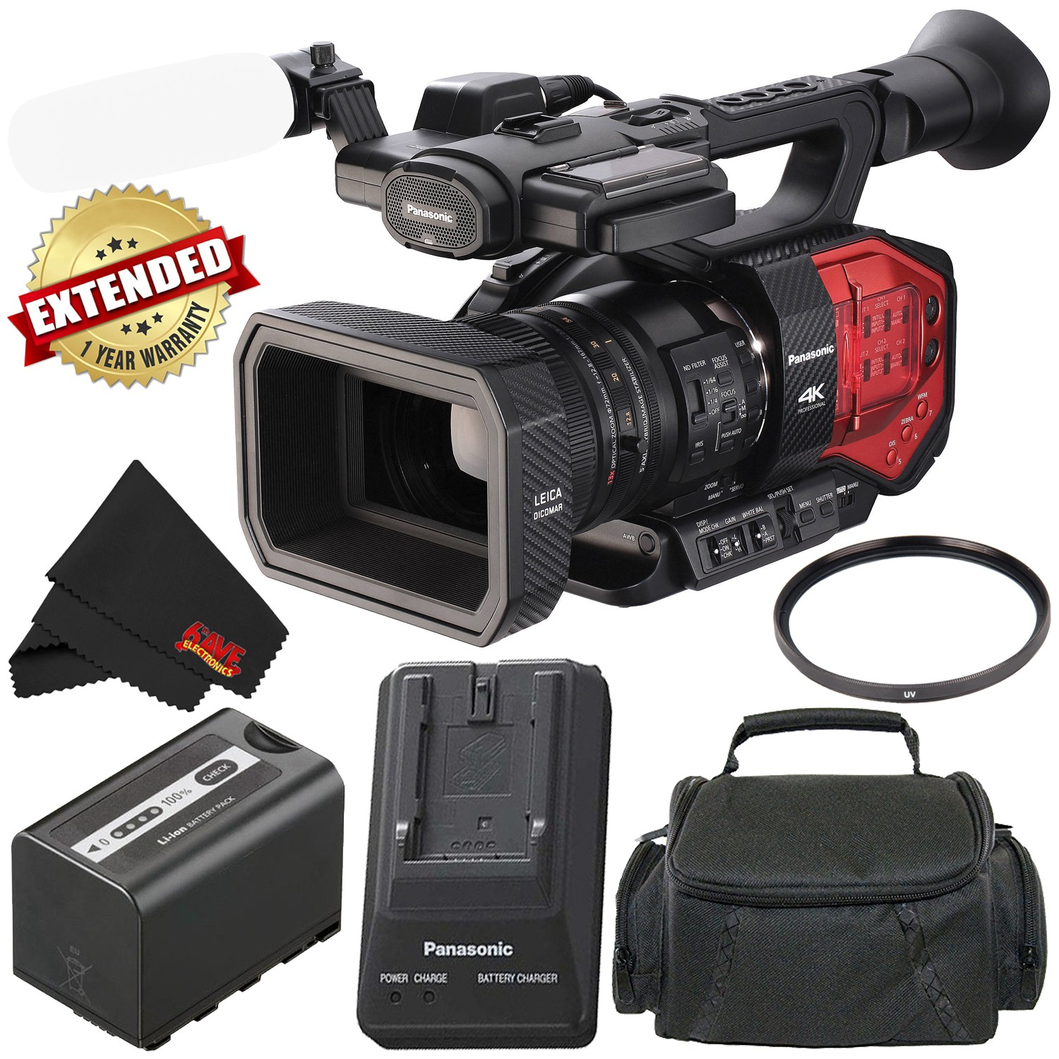 Panasonic AG-DVX200 4K Professional Camcorder (Intl Model) with Four Thirds Sensor and Integrated 13x Leica Zoom Lens - Bronze Level Bundle